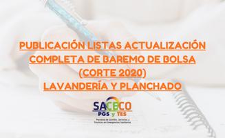 Publicación listas actualización completa de baremo de Bolsa (corte 2020) Lavandería y planchado